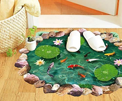 QIFDSVD Wandaufkleber Neue Cartoon Goldfisch Lotus Schlafzimmer Wohnzimmer Wandaufkleber Abnehmbare Wasserdichte Toilette 3D Aufkleber Wohnkultur -