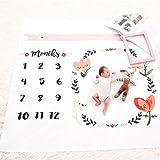 Infant Baby Milestone Decke Neugeborene Monatliche Wachstum Diagramm Blumenkranz Decke Rahmen Foto Requisiten Einschlagdecke Hintergrund Tuch für die Fotografie 101,6x 101,6cm
