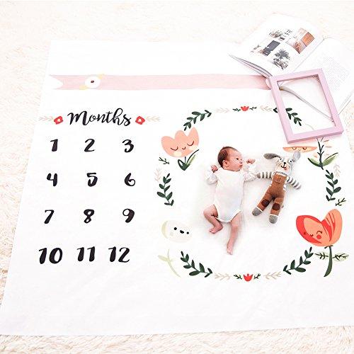 Baby Meilenstein Decke für Neugeborene, Monats-Wachstumsdiagramm, Blumenkranz, Decke, Rahmen, Foto-Requisiten, Puckdecke, Hintergrundtuch für Fotografie, 101,6 x 101,6 cm