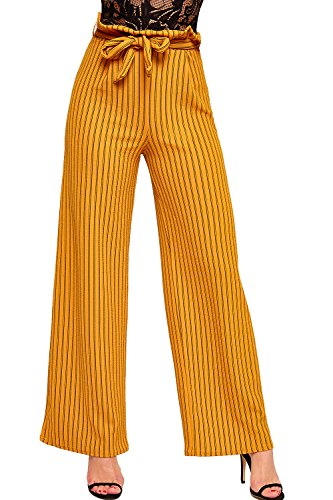 WEARALL - Femmes Rayé Belted Pantalon Sac En Papier Large Évasée Jambe Dames Crêpe Pantalon - 34-42 Moutarde
