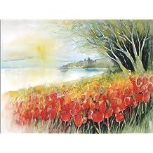 Cuadro sobre lienzo 40 x 30 cm: Tulips blossoms in Ueberlingen on Lake Constance de Eckard Funck - cuadro terminado, cuadro sobre bastidor, lámina terminada sobre lienzo auténtico, impresión en lie...