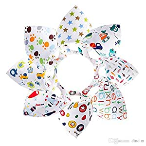 Bebedou 8 PACK colourful Dribble Bibs Bandana Pure Cotton Stylish Bandana / Drool Bib for Babies and Toddler, fun colourful design, baby shower gift, burpy towel •Lovely designs zoo animals • very good quality •nice and funky (8multi)