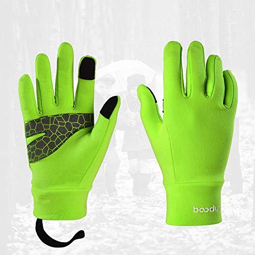 ZRK Kinder-Radhandschuhe für Jungen und Mädchen im Winter Outdoor Fahrräder Cold and Windproof Warm All Finger Touch Screen Handschuhe Sweat to Keep Warm,Green,S