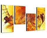 Augenblicke Wandbilder Gute Laune Bild sonnig gelb - 130x70cm 4 teiliges Keilrahmenbild (30x70+30x50+30x50+30x70cm) abstraktes Wandbild mehrteilig Gemälde-Stil handgemalte Optik Vintage