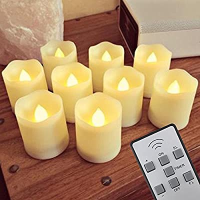 ?Timer,18 Pcs Batteries Included?LAPROBING 9 Pcs LED Battery Operated Flickering Flameless Candles 180+ Hours of Extended Light Timer with Remote Control and Timer for Wedding Decorations Centerpieces Birthday Parties from corlorful warmhouse