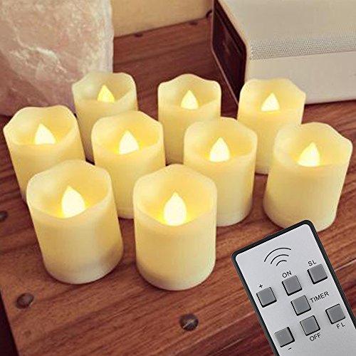 9er LED Flammenlose Flimmern Kerzen (Timer,Fernbedienung, Fernbedienung & Batterien)- 3 Modi Dimmbare Teelichter LED Votiv Weihnachtskerzen für Weihnachtsbaum, Weihnachtsdeko, Hochzeit, Geburtstags, Party (Weihnachtsbaum Zeitschaltuhr)