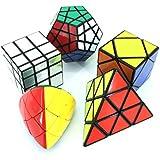 MZStech Magic Cube Puzzle Set aus Pyraminx, Meganminx, Skewb, Mastermorphix, 3x3 Spiegelwürfel - 5er Pack