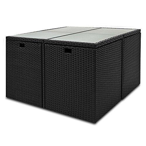 Deuba® Poly Rattan Sitzgarnitur 8+1 | Cube Design | 7cm dicke Auflagen in creme | klappbare Rückenlehne | platzsparend [ Modellauswahl 2+1 | 4+1 | 8+1 | 10+1 ] - Sitzgarnitur Gartengarnitur Rattanmöbel Gartenmöbel Set - 3