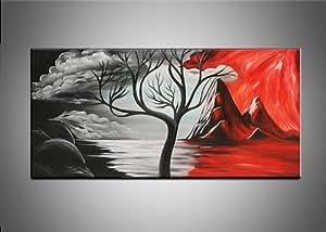 ShipFrea moderne Noir/blanc/rouge Motif Arbre Nature morte-PEINTURE A L HUILE SUR TOILE salon Mural