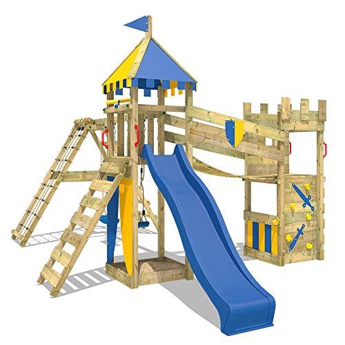 WICKEY Spielplatz Smart Legend 150 Kletterturm Ritterburg Spielturm mit Schaukel und Rutsche, Sandkasten, Kletteranbau und Wackelbrücke