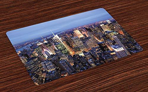 New York Place Mats, vue aérienne de New York remplie de gratte-ciel de Manhattan Times Square, célèbre panorama de paysages urbains, sets de table en tissu lavables pour la décoration de table de cui