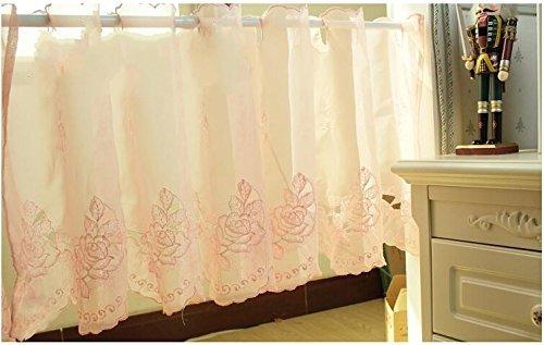 Tenda da cucina ricamata, per sala caffè, da pranzo, protegge dal sole, mantovane semi velate, pink rose, 45x145cm