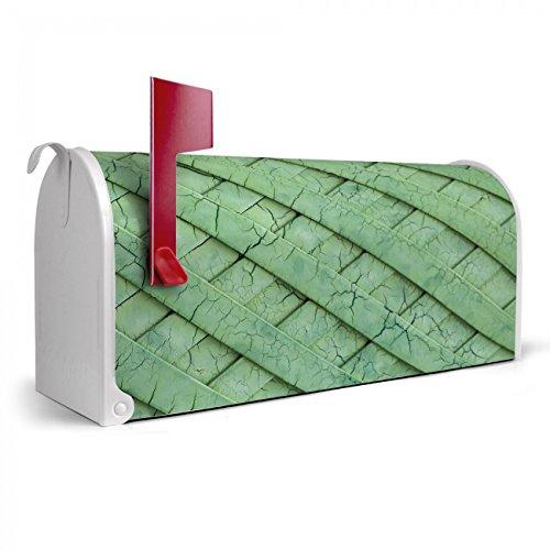 BANJADO US Mailbox | Amerikanischer Briefkasten 51x22x17cm | Letterbox Stahl weiß | mit Motiv Kreuz und Grün, Briefkasten:mit schwarzem Standfuß