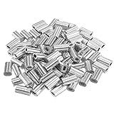 sourcingmap® 0.05 in (1.2mm) diametro fune manicotti in alluminio Clip cavo raccordi crimpature 100pz