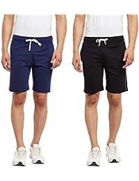 HAIG-DOT Men's Denim Navy And Light Grey Cotton Shorts Combo (Pack Of 2)