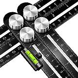 Vorlage Werkzeug, Ancees Multi-Winkel Angleizer Template Tool Premium Aluminium Mess-Lineal Winkelschablone mit Wasserwaage for Erbauer Carpenter Handwerker Architekt (Schwarz)