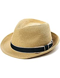 895037ac SiggiHat Panama Summer Fedora Trilby Straw Sun Hats For Men Safari Beach Hat  - Foldable
