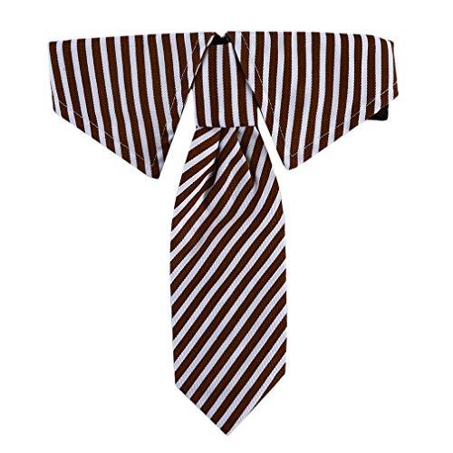 LIXIAQ1 Einstellbare Haustiere Hund Katze Fliege Haustier Kostüm Krawatte Kragen für Kleine Hunde Welpen Pflege Zubehör, braune Streifen, S -