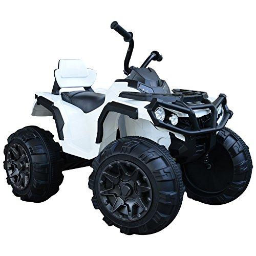 Homcom Voiture 4x4 Quad Buggy électrique 103L x 68l x 73H cm Enfants 3 à 8 Ans Effets Lumineux Musique Lecteur MP3 Multifonction Blanc