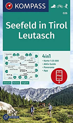 KOMPASS Wanderkarte Seefeld in Tirol, Leutasch: 4in1 Wanderkarte 1:25000 mit Aktiv Guide und Panorama inklusive Karte zur offline Verwendung in der ... Skitouren. (KOMPASS-Wanderkarten, Band 26)