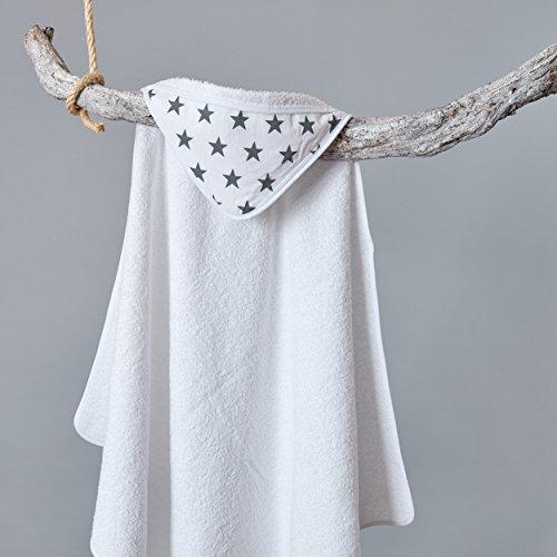 Weiße Badetücher Graue Und (KraftKids Kapuzenhandtuch kleine graue Sterne auf Weiss)