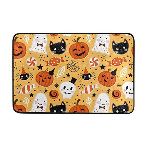 ZHIZIQIU Halloween Pumpkin Ghost Cat and Skull Doormat Indoor/Outdoor Washable Garden Office Door Mat,Kitchen Dining Living Hallway Bathroom Pet Entry Rugs with Non Slip Backing (Für Loofahs Halloween)