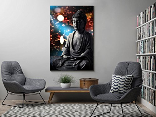 999Store Wooden Framed Printed Multicolor Buddha Statue Canvas Painting (36X24 Inches)