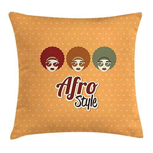 Black Woman Throw Pillow Cushion Cover, Sunglasses African American Culture Elements with Interesting Hairlines Vintage, Decorative Square Accent Pillow Case, 18 X 18 inches, Multicolor