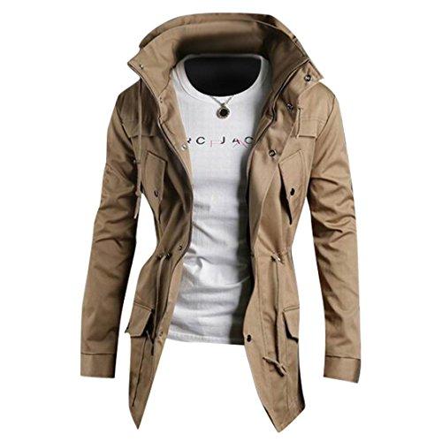 Jeansian Hommes Manteau Outerwear Sport Casual Men Hoodie Jacket Coat 9029 Kaki