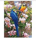 Yzrh Bild Auf Leinwand Wandmalerei Nach Zahlen Abstrakt Zwei Papageien Moderne Hauptwanddekor Malerei Leinwand DIY Kunst Malerei Without Frame
