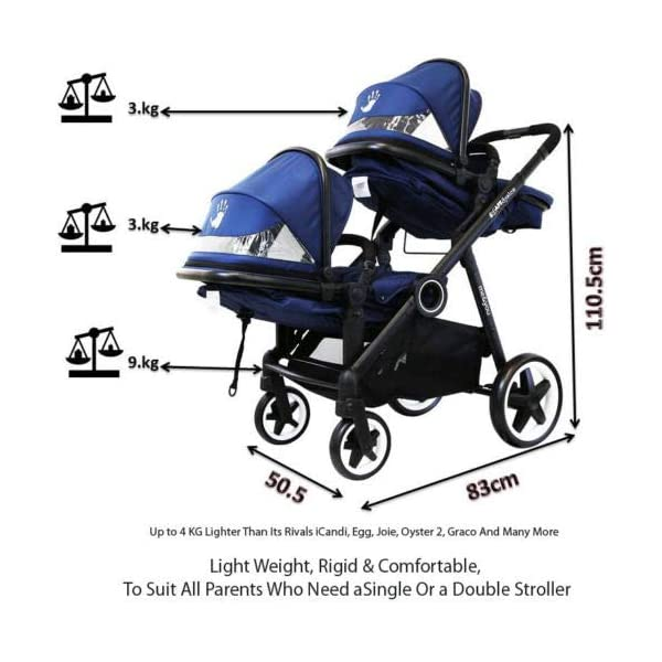 iSafe Me&You Inline Tandem Travel System with Second Seat & Rain Cover - Royal Blue iSafe Sleek & Eye Catching Matte Black Chassis, Weighing Only 16Kgs Easy One Second Fold, For Those Parents On The Go Soft Grip Extendable 3 Height Handle, To Suit Parents Of Any Height 7