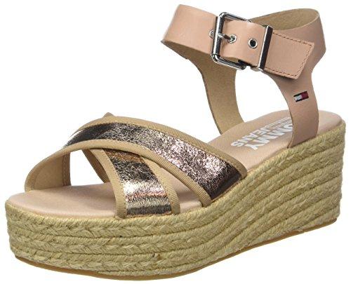 Hilfiger Denim Damen Metallic Flatform Sandal Plateausandalen Pink (Rose Gold 638)