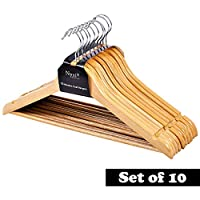 Nyxi 10-200 Grade A, Natural Clothes Hangers Natural Wooden Wood Clothes Coat Hangers with Round Trouser Bar and Shoulder Notches