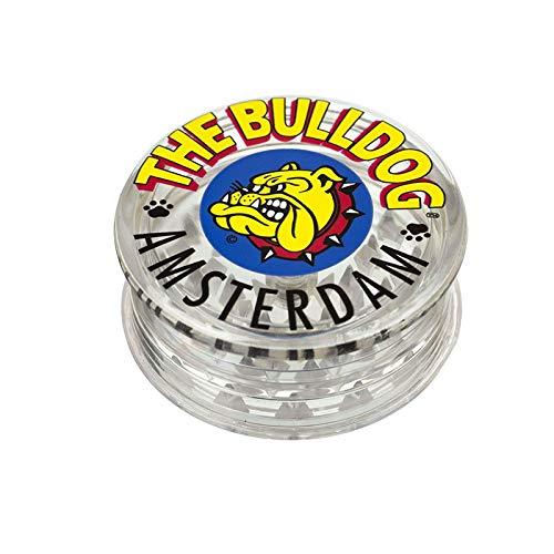 Bulldog Grinder 3-teiliges Grinder aus Kunststoff mit Pollen Scraper für Herbs und Spices (5 cm, klar transparent)
