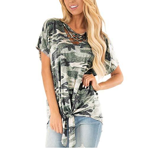 Fuibo Frauen Camouflage Gedruckt Strickoberteil T Shirts Lose Tank Tops Damen Sommer T-Shirt Casual Kurzarm Oberteil Tops Bluse Shirt (L, Camouflage)