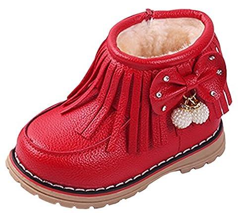La Vogue Bottes Fourrée Neige Cuir Frange Enfant Bébé Fille Mixte Snow-Boot Hiver Chaude Rouge 21