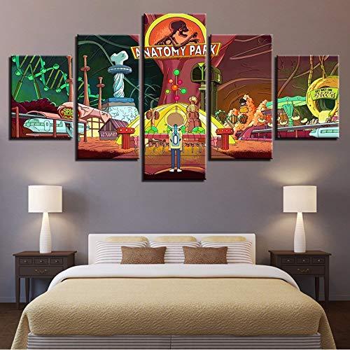 xzfddn Kunst Leinwand Malerei Wand 5 Stücke Modulare Cartoon Bilder Für Wohnzimmer Bild Moderne Animation Decor