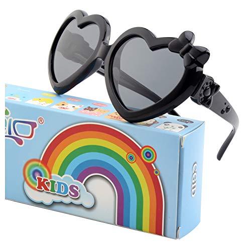 CGID Weiche Niedliche Herzförmige Polarisierte Sonnenbrille für Kinder Flexibler Rahmen 100% UV400 Schutz für Kinder Jungen und Mädchen im Alter von 3 - 10,K78
