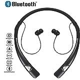 Bluetooth Écouteurs, Miya Élégant Sans Fil Bluetooth Neckband Casque Stéréo Sans Fil Sport Écouteurs Écouteurs avec Micro pour iPhone, Samsung et Autres Appareils Bluetooth - Noir