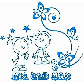 Baby/Kinder – Autoaufkleber ***Geschwister – Motiv 02/links*** (mit eigenem Wunschtext, Farb.- und Schriftauswahl)