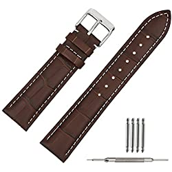 TStrap Genuine Leather Watch Straps 22mm Brown Alligator Grain Military Watch Band w/ Watch Buckle Clasp