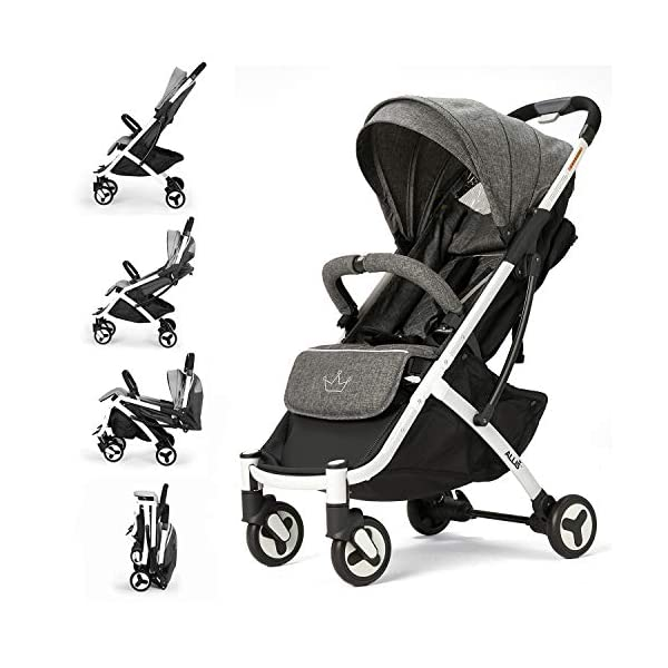 Allis Lightweight Stroller Baby Pushchair Buggy Travel Pram Plume - Grey Allis Baby Made according to British Standard EN1888 and Fire Safety Regulations 1988. Lockable 360 swivel wheels, removable and suspension, Peek A Boo window/ Recline Seat/ Lie-flat position From 6M (Upto 15Kg Approx). Lightweight 6.7Kg only, Easy to fold with one hand only 1