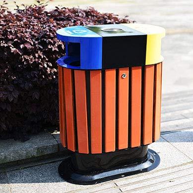 outdoor bin 60L Doppelfassklassifizierung Mülleimer, Starker Hölzerner Stahlabfalleimer Mülltonne, Abfalleimer Verwendbar Für Parkgemeinschaftshotelsanitäreigenschaft -63 * 38 * 85cm A (85-kuchen-deckel)