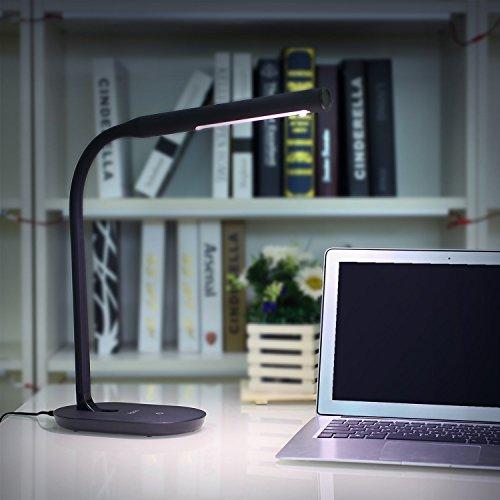 – Aglaia Lampada da Tavolo a LED, 7W con Porta USB, Touch Dimmerabile Controllo con 3 Livelli per Protezione degli Occhi, Braccio Flessibile 360°. (Nero) prezzo