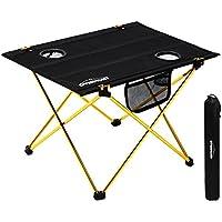 Overmont Mesa plegable ultraligero portatil para acampar camping pesca senderismo picnic playa barbacoa viaje caza y actividades al aire libre M/L con bolsa de almacenaje