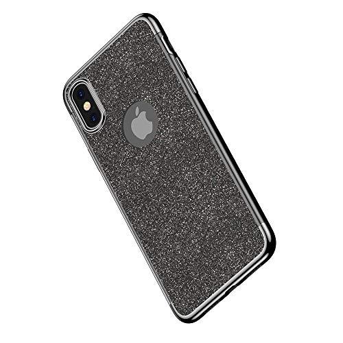 Miagon 2-1 Glitzer Hülle für {iPhone Xs/X},Luxus Glitzer Bling Überzug Hülle Handyhülle Slim Case Schale Leicht Dünn Schutzhülle Glänzendes