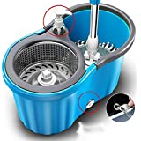 Peony Mop Bucket Magic Spin Mop Bucket Double Drive Hand Pressure With 2 Micro Fiber Mop Head Household Floor Cleaning & 4 Color May Vary (with Soap Dispenser)