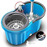 #1: Peony Mop Bucket Magic Spin Mop Bucket Double Drive Hand Pressure with 2 Micro Fiber Mop Head Household Floor Cleaning & 4 Color May Vary (with Soap Dispenser)
