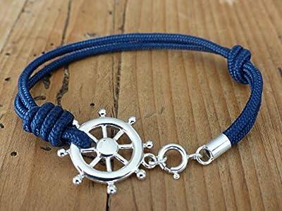 Bracelet homme paracorde argent 925 - Gouvernail argent massif - Bracelet nautique paracorde - Bracelet marine argent - 6 couleurs paracorde