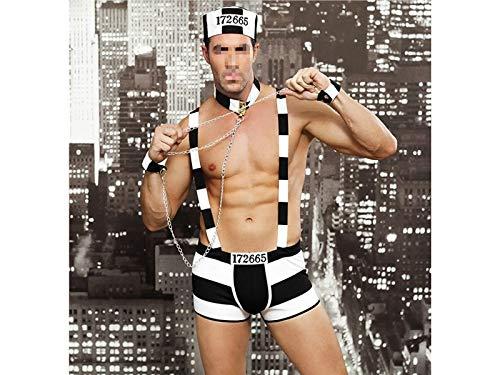 Männer Persönlichkeit Alternative Sexy Uniform Nachtclub Bar Erotische Unterwäsche Männlichen Gefangenen Cosplay Kostüm (Größe : Einheitsgröße)